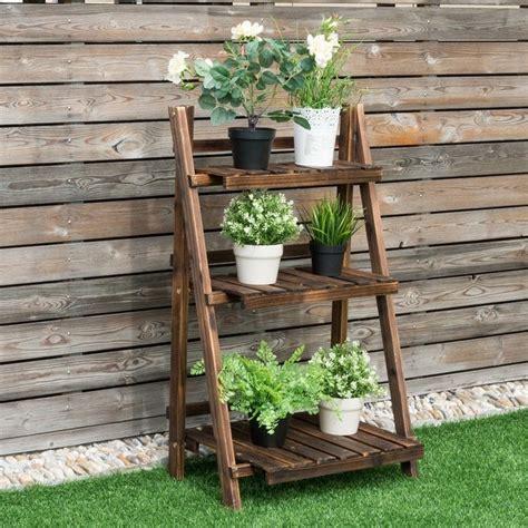 shop costway  tier outdoor wood design flower pot shelf