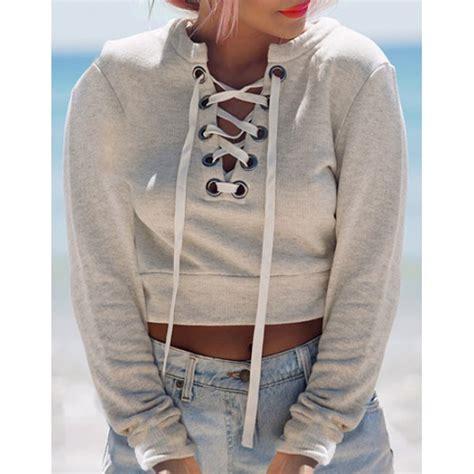 V Neck Sleeve Sweatshirt trendy v neck lace up sleeve sweatshirt for