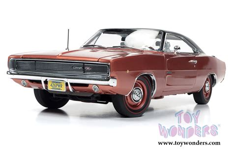 1968 Dodge Charger R T Bronze 1 18 Auto World 1075 1968 dodge charger r t top hemmings machines amm1075 1 18 scale auto world wholesale