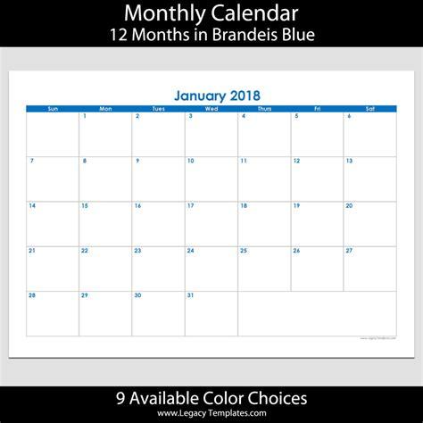 2018 12 Month Calendar 2018 12 Month Landscape Calendar A5 Legacy Templates