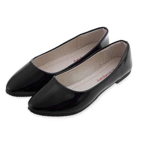 flat black leather shoes casual flat shoes solid color patent leather black