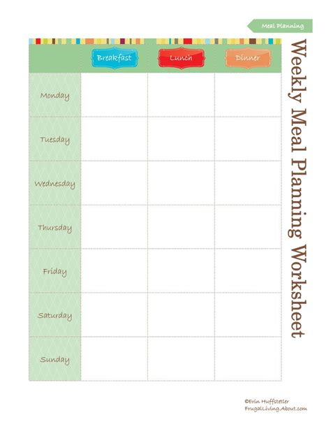 printable weekly planner worksheets free printable meal planners