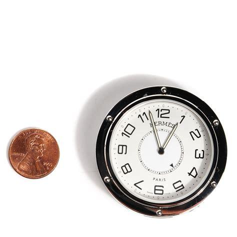 hermes stainless steel 48mm clipper travel alarm clock 98483