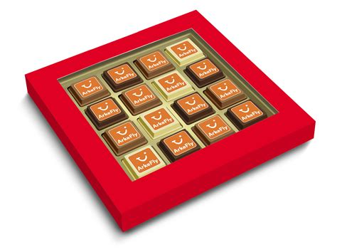 personalised box of 16 premium belgian printed chocolates