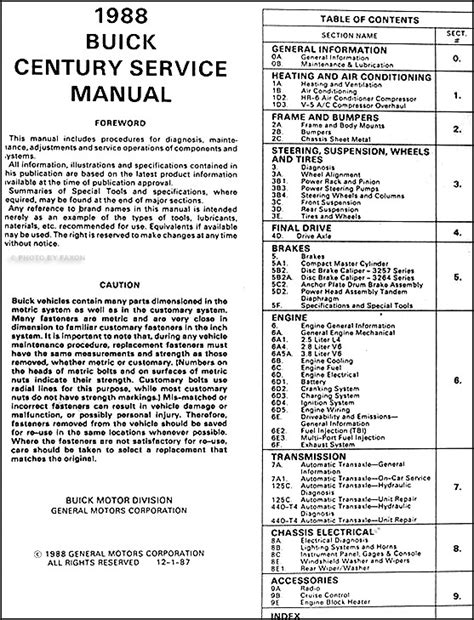 car repair manuals download 1996 buick century on board diagnostic system 1988 buick century repair shop manual original