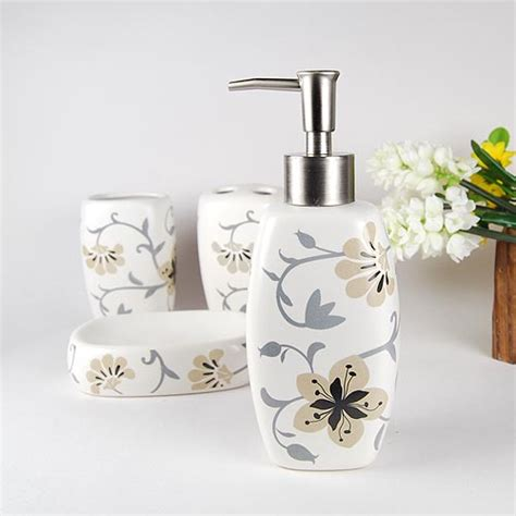 flower pattern ceramic bath accessory set x3003 wholesale