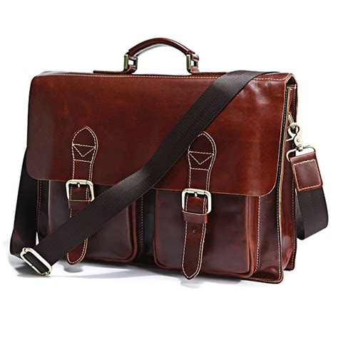 Handmade Briefcase Leather - 7086x genuine cow leather s briefcase laptop