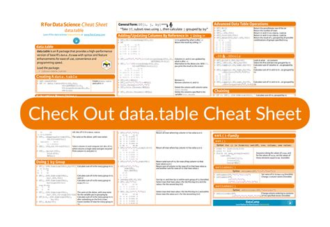 Data Table R the data table r package sheet article