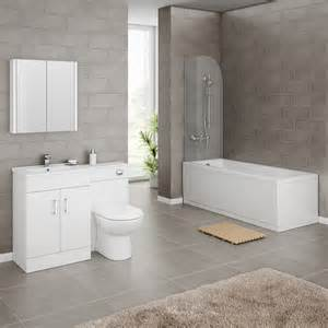 Bathroom Vanity Suites Modena Gloss White Vanity Unit Suite With Square Single Ended Bath At Plumbing Uk