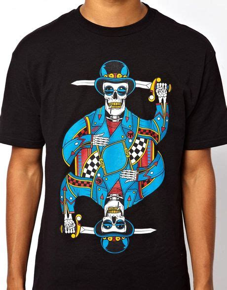 Kaos Tshirt Vans Skull vans tshirt skull card print in black for lyst