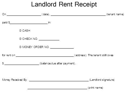 landlord rental receipt template landlord rent receipt template excel about