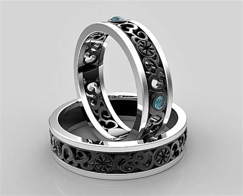 His and Hers Blue Diamond Matching Wedding Band   Vidar