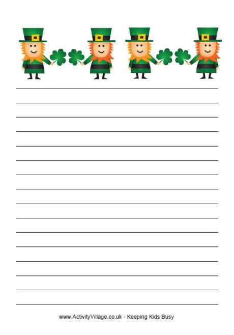st patricks day writing paper st s day writing paper leprechauns and shamrocks