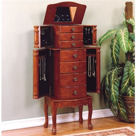 cherry wood jewelry armoire cherry brown quot classic cherry quot wood jewelry armoire with