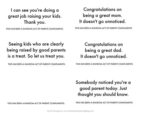 Do You Get Compliments On Your by Random Acts Of Parents Compliment Notes Image Images