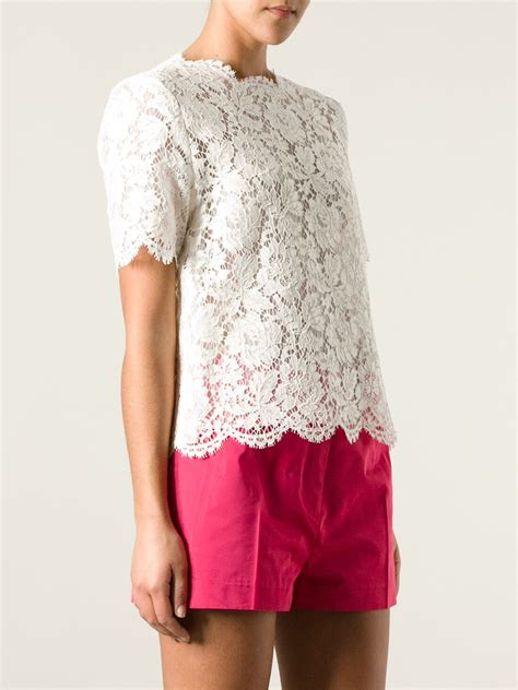 Lace Blouse Black Flower valentino sleeve flutter sleeve top in white lyst