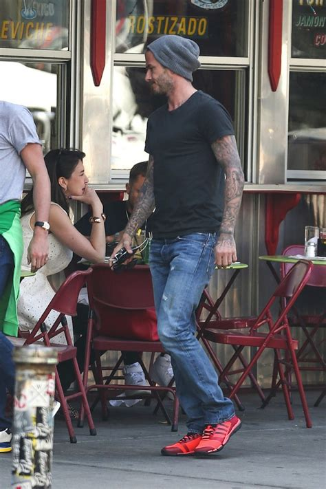 celebrity eatery la esquina shuttered by city because of david beckham wears ralph lauren rrl denim jeans out in