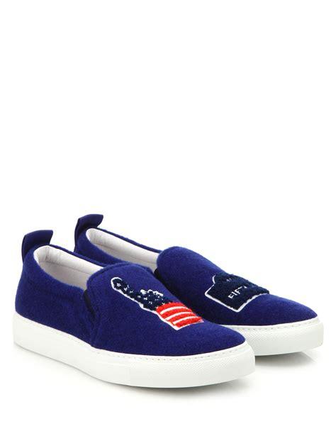 joshua sanders shoes joshua sanders new york felt slip on sneakers in blue lyst