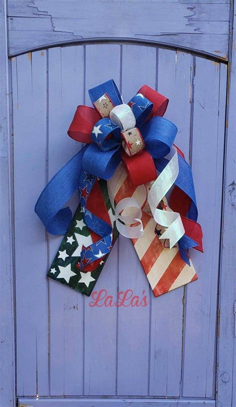 patriotic wreath bow front door hanger   july