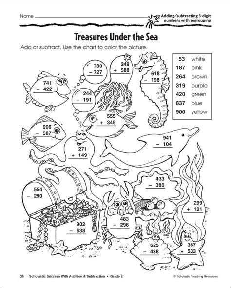 subtraction with regrouping coloring pages 3rd grade