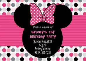 Free Minnie Mouse 1st Birthday Invitations Templates by Minnie Mouse Birthday Invitations Drevio