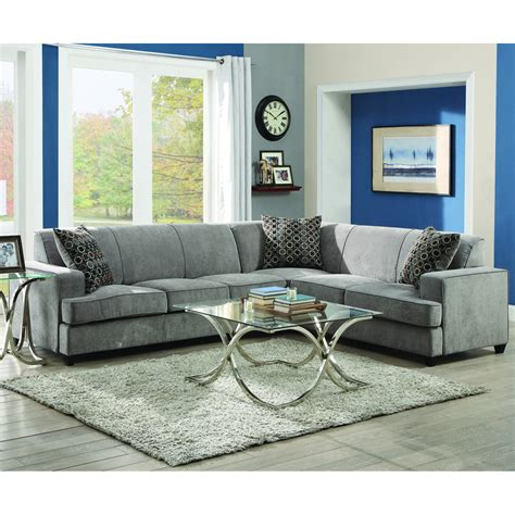 Shop Coaster Fine Furniture Tess Gray Sectional At Lowes Com