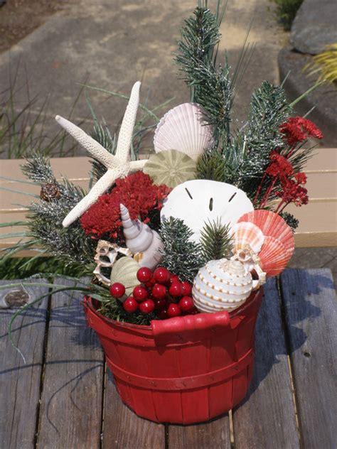 beach decor christmas bucket arrangement beach bucket