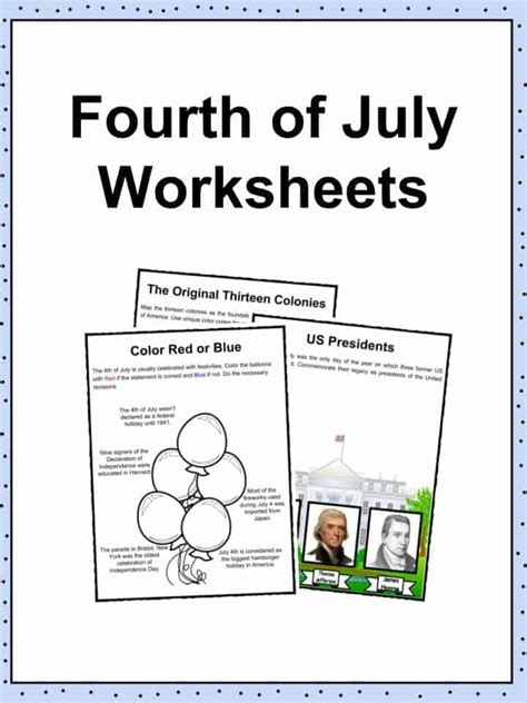 4th Of July Facts by Fourth Of July 4th July Facts Worksheets History For