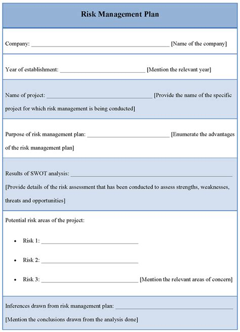 Plan Template for Risk Management, Example of Risk