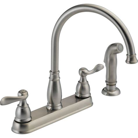 4 kitchen faucet delta windemere 2 handle standard kitchen faucet with side sprayer in stainless 21996lf ss the