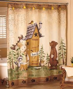 outhouses bathroom decor nature calls shower curtain comical bear moose outhouse