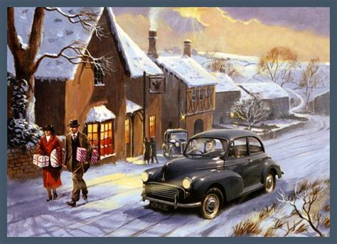 moggies christmas trip nostalgic classic car motoring christmas card  kevin walsh buy