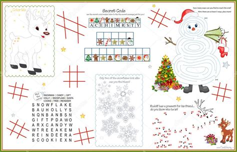 free printable christmas table games placemat christmas printable activity sheet 5 stock