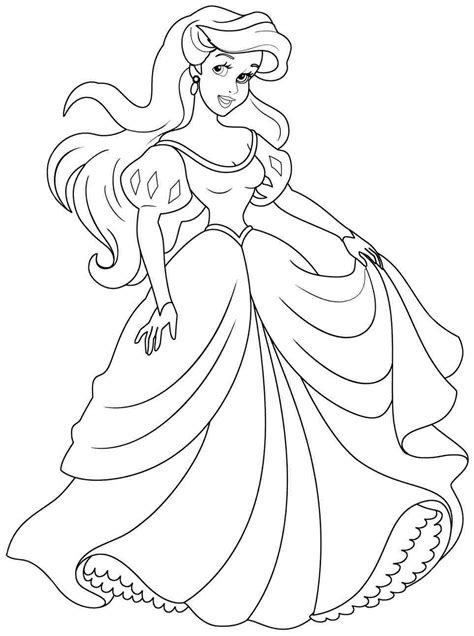 little girl princess coloring page ariel coloring pages to download and print for free
