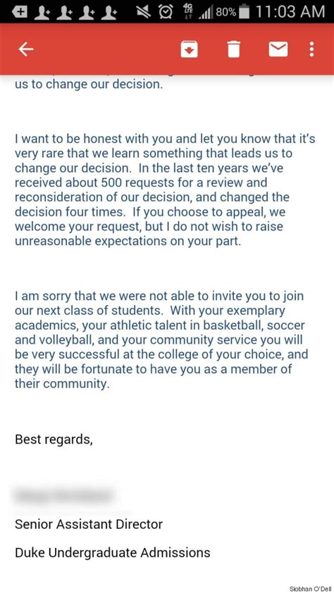 Decline Letter Response duke responds to s viral rejection letter