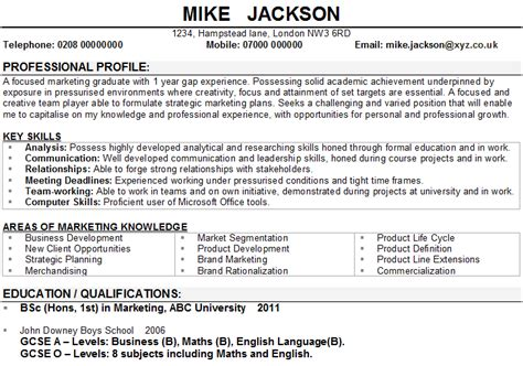 marketing cv exle graduate marketing cv sle