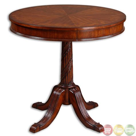 brakefield antique style round pedestal accent table 24149