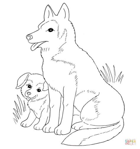 newborn puppies coloring pages dog mother and puppy coloring page free printable