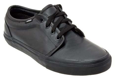 black leather shoes vans vulcanized true black leather shoes ebay