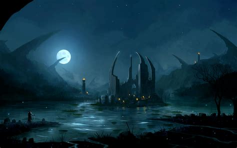 darkness beautiful dark themes ruins by the lake full hd wallpaper and background