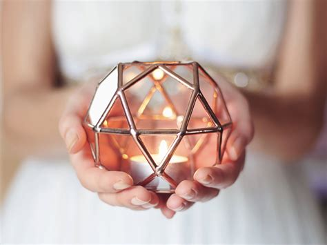 kerzenhalter taufkerze glass geometric candle holder wedding lights copper home