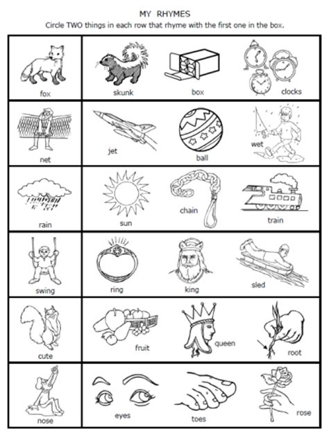 pattern poem kindergarten free printable rhymes rhyming words worksheets for