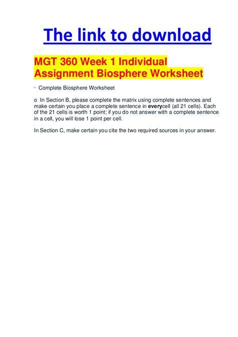 Biosphere Worksheet by Mgt 360 Week 1 Individual Assignment Biosphere Worksheet