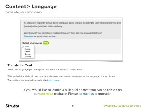 Sweepstakes Translate - strutta sweepstakes builder guide