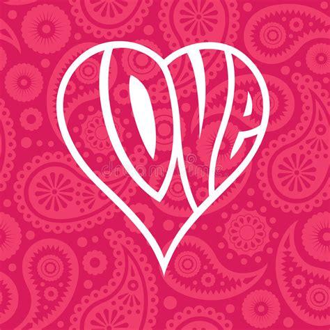 love shape pattern vector love heart on seamless paisley background stock vector