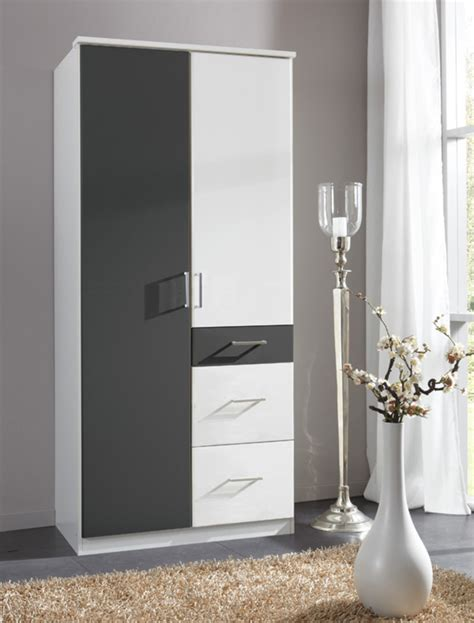 Armoire 2 Portes But by Armoire 2 Portes 3 Tiroirs Click Blanc Anthracite