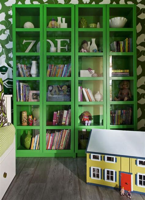 bright green glass bookcases in s bedroom hgtv