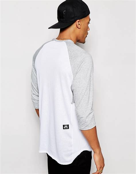 Kaos T Shirt Raglan 6 0 Nike nike sb nike sb raglan t shirt with 3 4 length sleeves