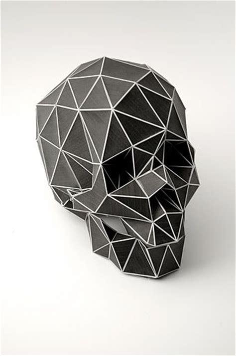 Origami Skull 3d - folded black paper skull planetary folklore origami