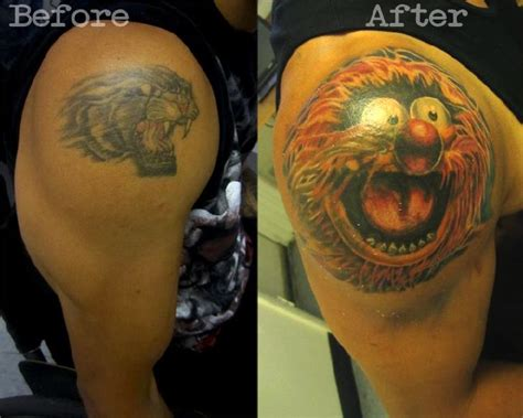 extreme tattoo cover up ideas awesome tattoo cover ups animal guff